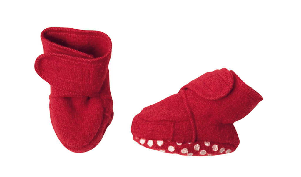 Disana Boiled Wool Booties Color: Red