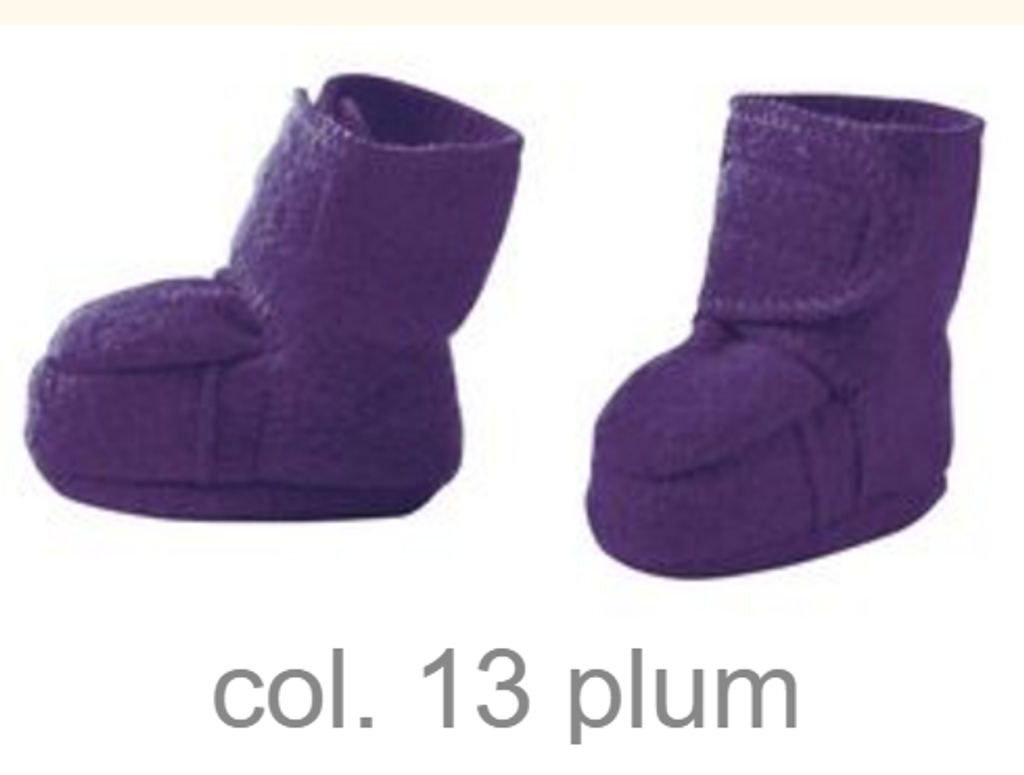 Disana Boiled Wool Booties Color: Plum