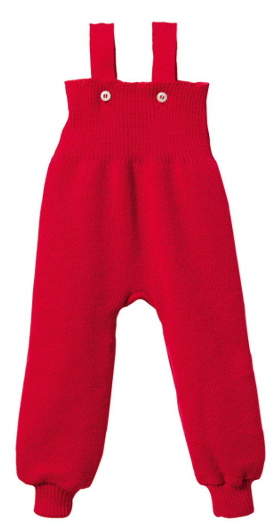 Disana Organic Wool Knitted Overalls Color: Red