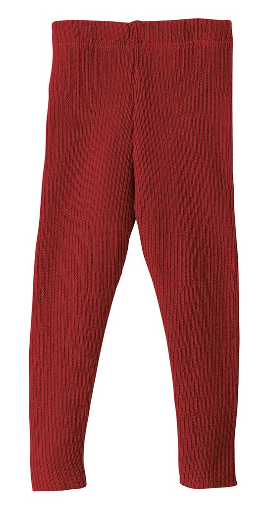 Organic Merino Wool Knitted Leggings Color: 398 Bordeaux