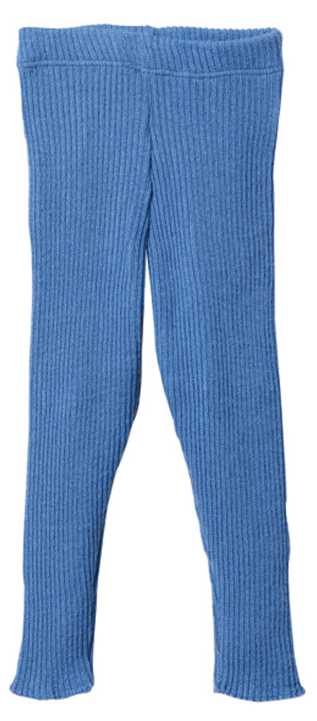 Organic Merino Wool Knitted Leggings Color: Blue