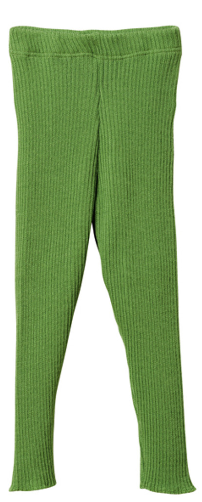 Organic Merino Wool Knitted Leggings Color: Green