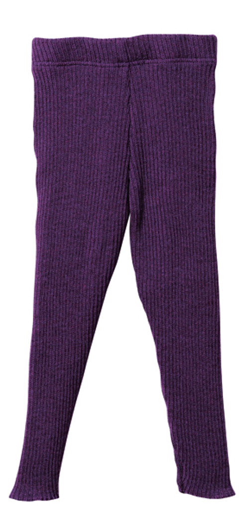 Organic Merino Wool Knitted Leggings Color: Plum