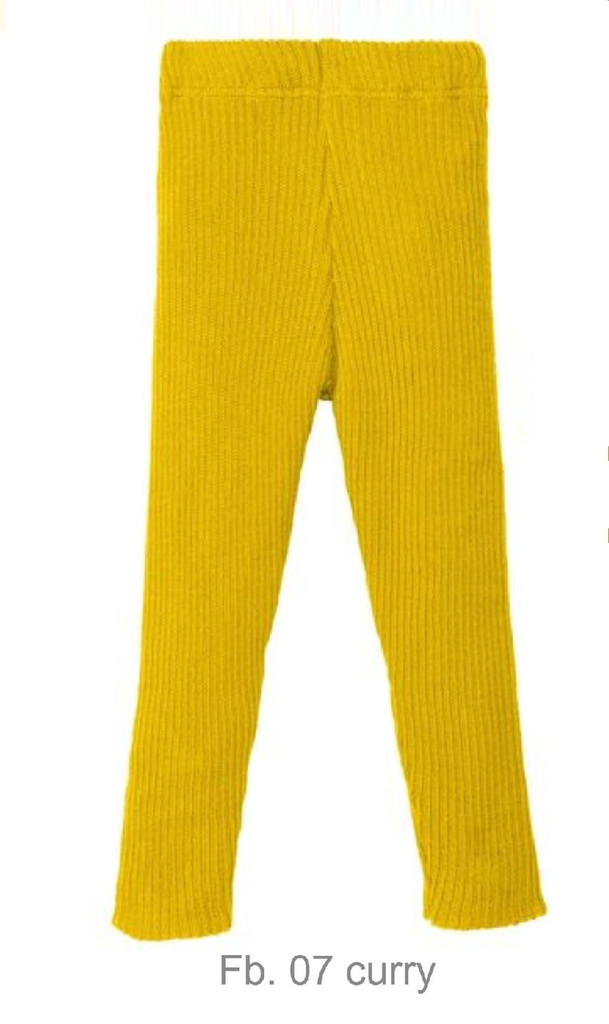 Organic Merino Wool Knitted Leggings Color: Curry