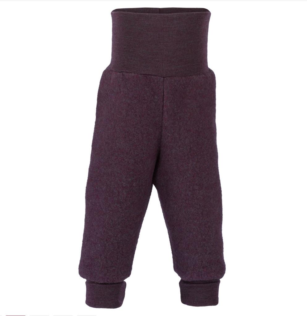 Organic Wool Fleece Pants with High Waistband Color: 059E purple melange