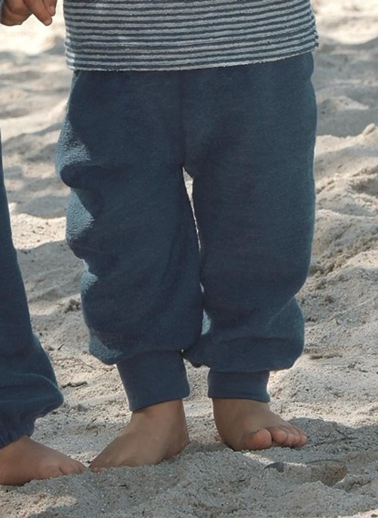 Organic Wool Fleece Pants with High Waistband Color: Ocean