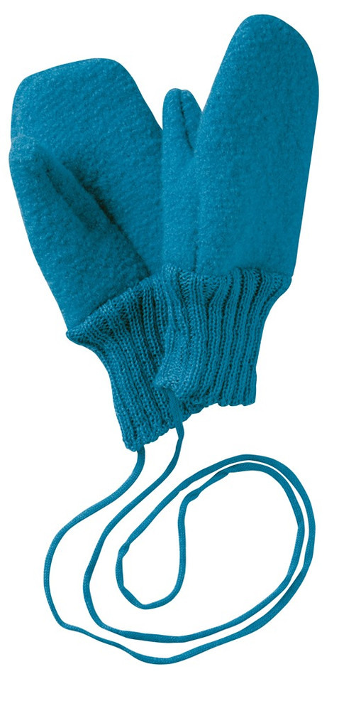 Boiled Wool Mittens Color: Blue