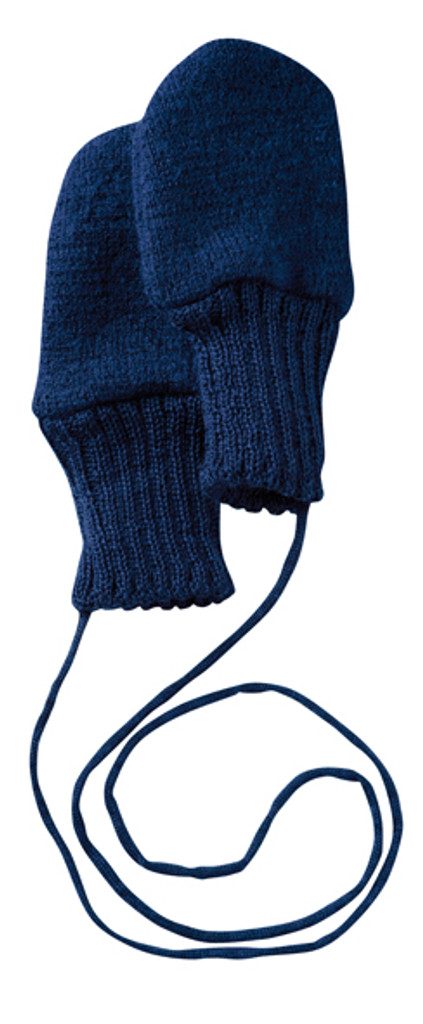 Boiled Wool Mittens Color: Navy