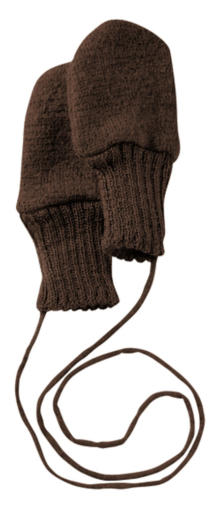 Boiled Wool Mittens Color: Chocolate