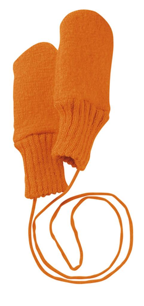 Boiled Wool Mittens Color: Orange