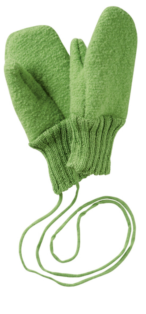Boiled Wool Mittens Color: Green