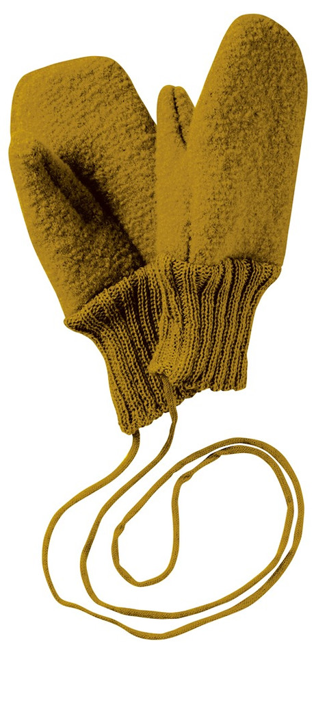 Boiled Wool Mittens Color: Gold