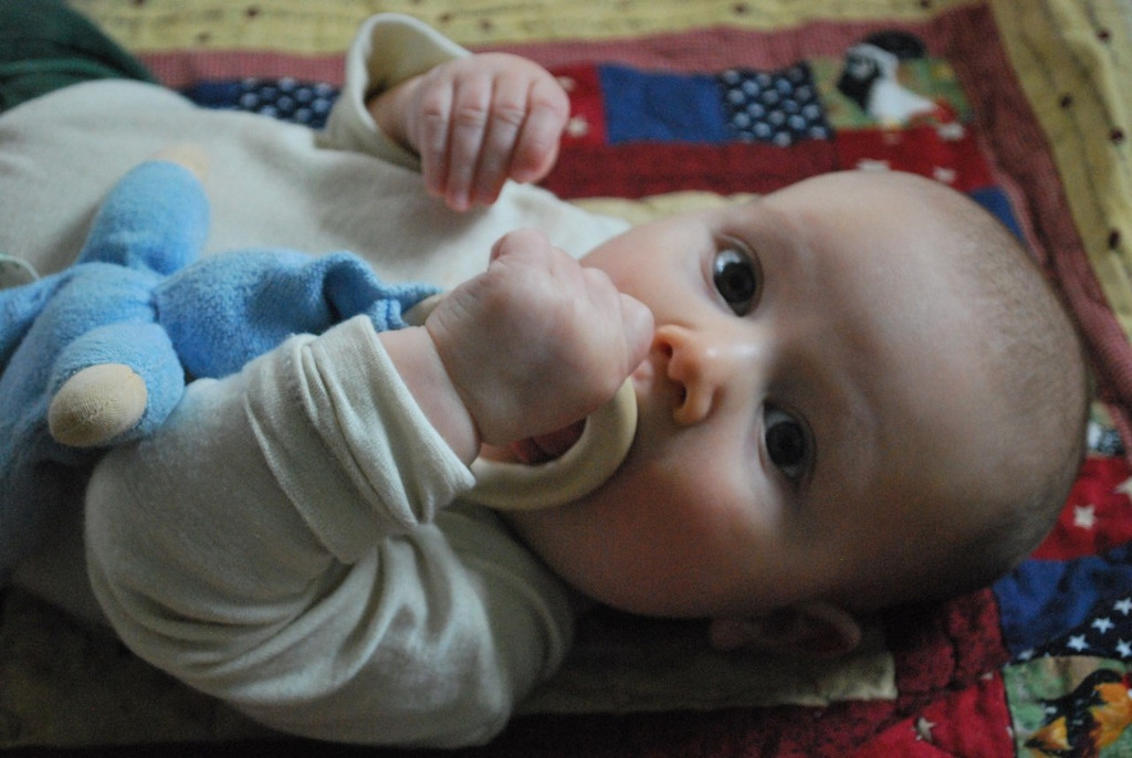 Organic Cotton Baby Teething Toy with Wooden Ring