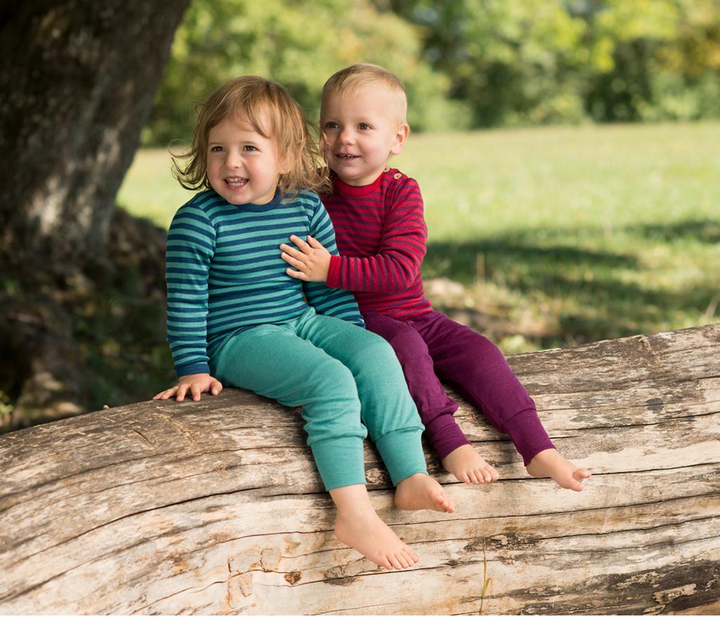 Organic Wool / Silk Baby Pants Color: Ice-blue (left)