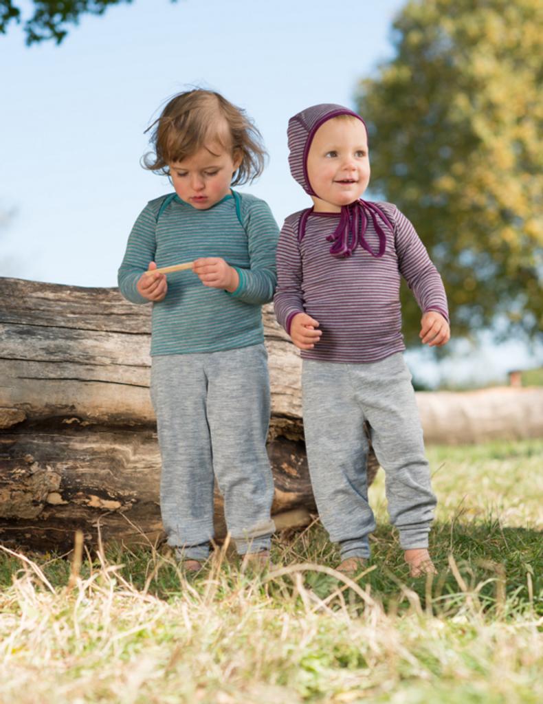Organic Wool / Silk Baby Pants Color: Grey Melange