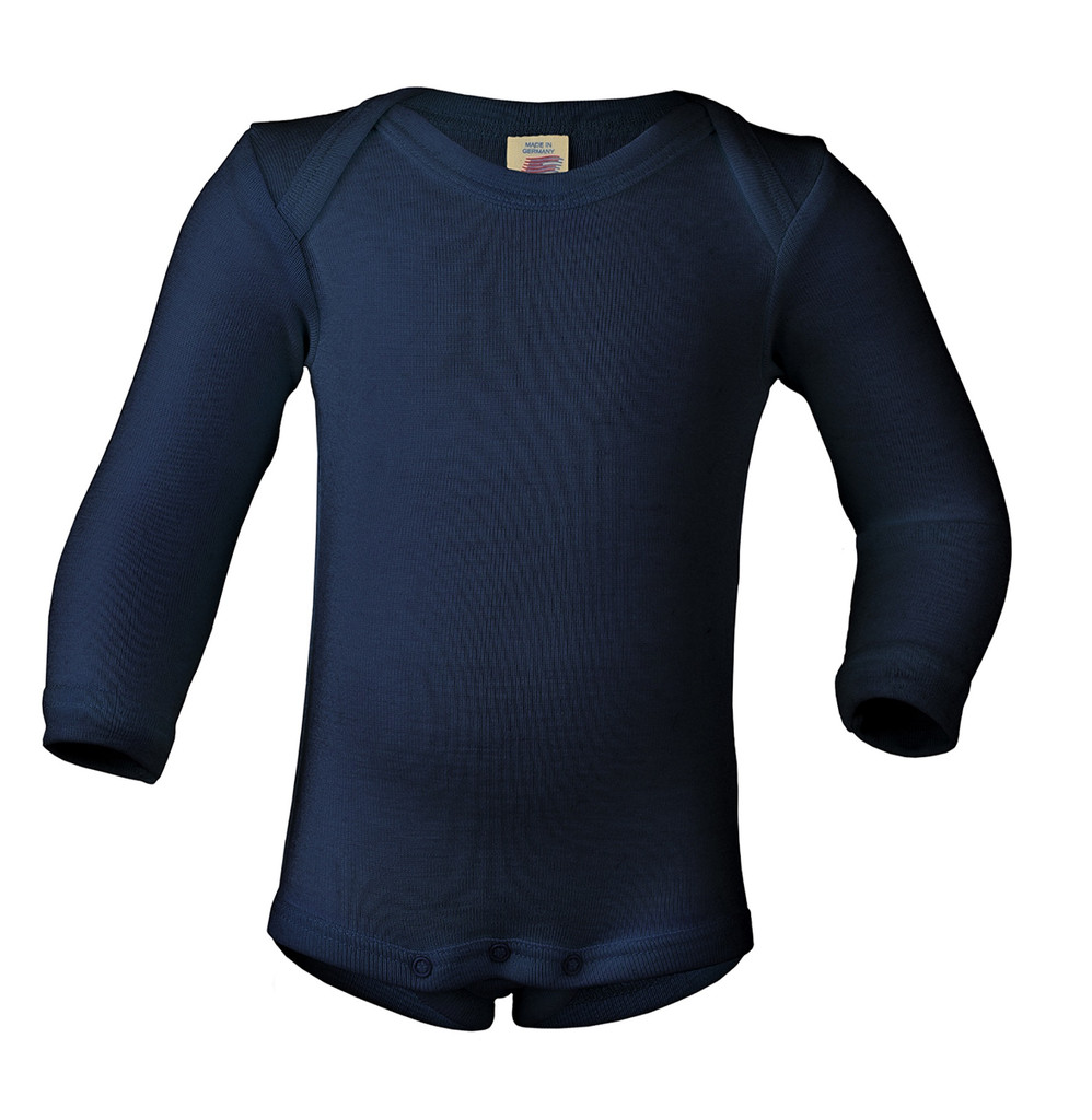 Merino Wool/ Silk Long Sleeved Bodysuit Color:  33 navy