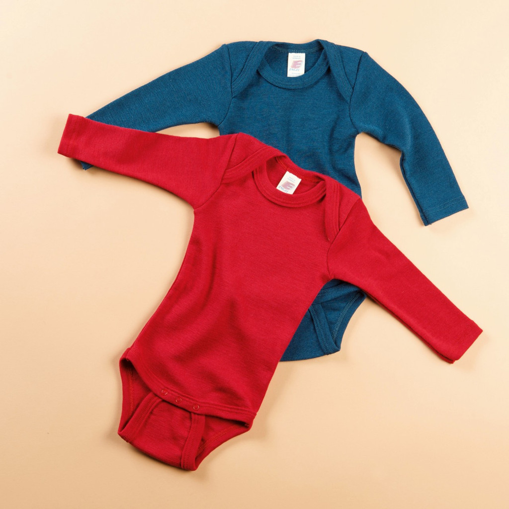 Merino Wool/ Silk Long Sleeved Bodysuit Color: Light Ocean and Cherry Red