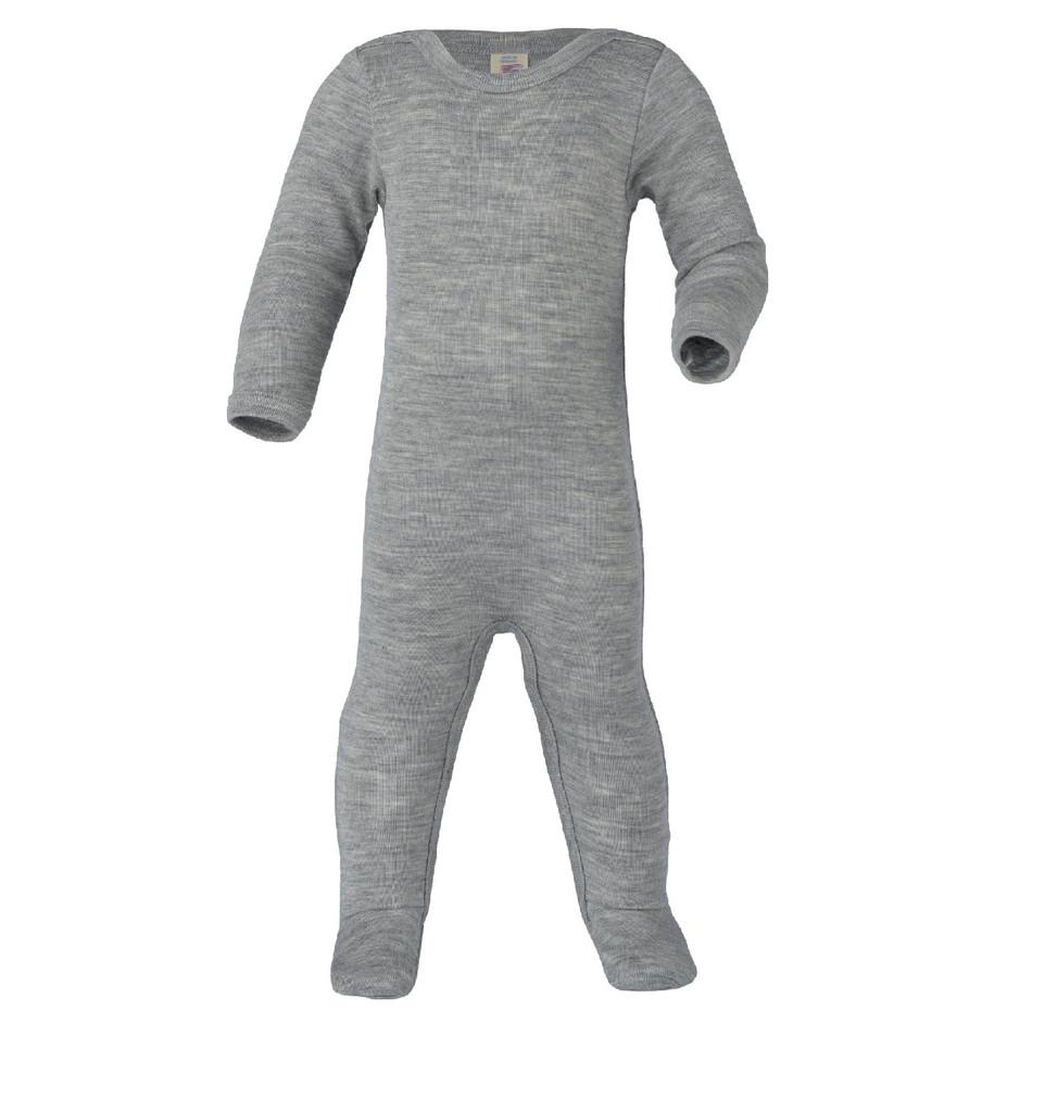 Organic Wool/ Silk Footed Pajamas Color: 091 grey melange
