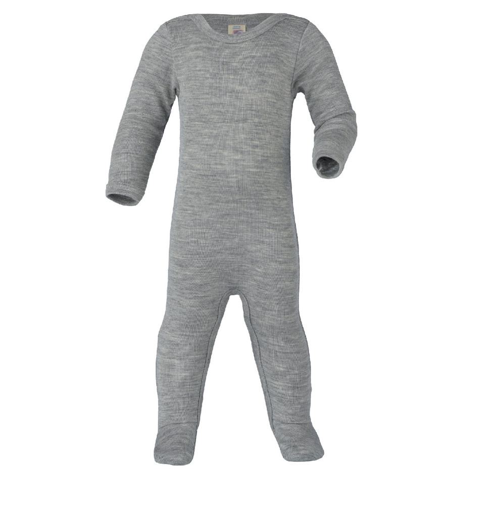 Organic Wool/ Silk Footed Pajamas Color: 091 grey melange