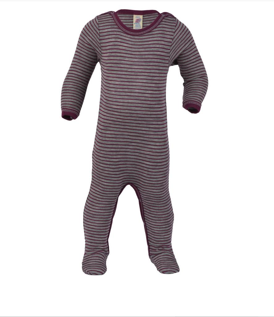 Organic Wool/ Silk Footed Pajamas Color: Grey Melange / Orchid