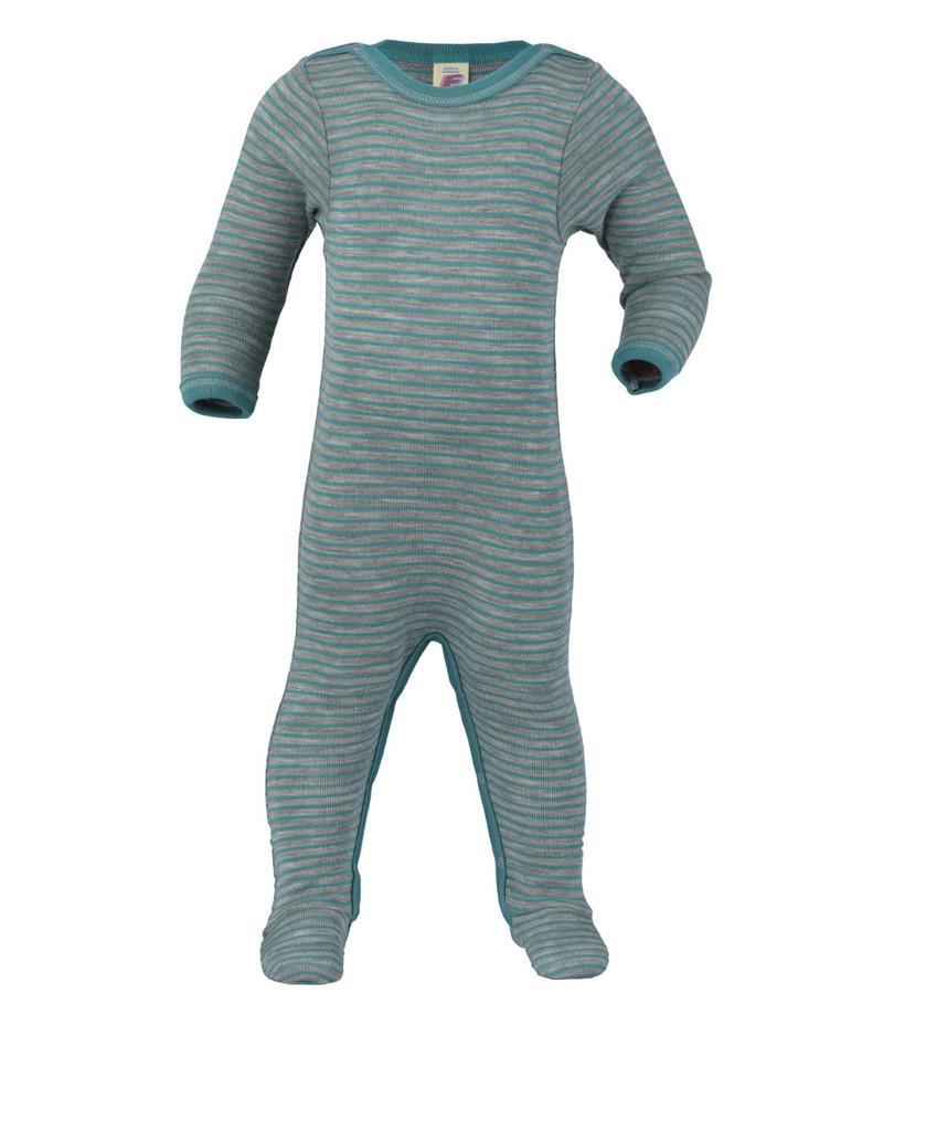 Organic Wool/ Silk Footed Pajamas Color: Grey Melange / Blue