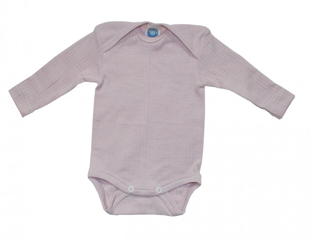 Organic Wool/ Silk/ Cotton Long Sleeved Bodysuit Color: pink