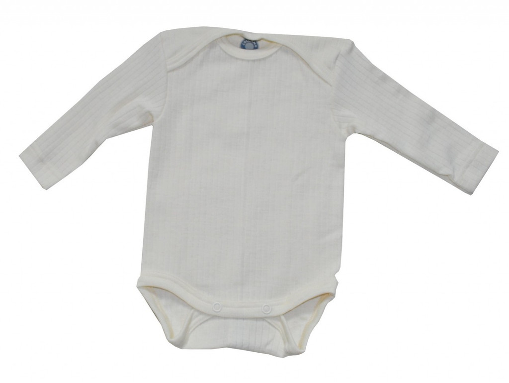 Organic Wool/ Silk/ Cotton Long Sleeved Bodysuit Color: natural