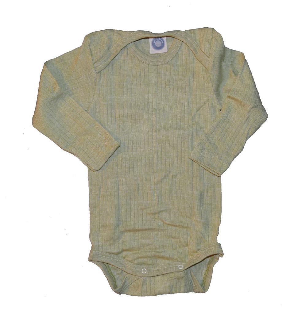 Organic Wool/ Silk/ Cotton Long Sleeved Bodysuit Color: 021 Green Melange