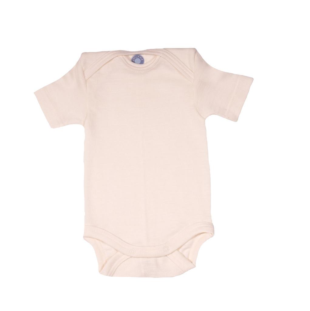 Cosilana Organic Wool/ Silk Short Sleeved Bodysuit Color: natural
