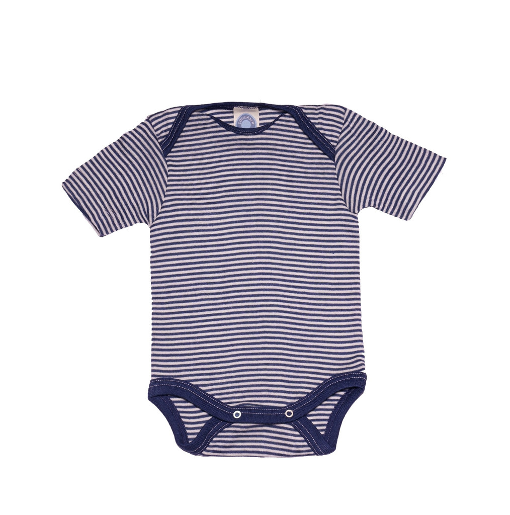 Cosilana Organic Wool/ Silk Short Sleeved Bodysuit Color: navy striped