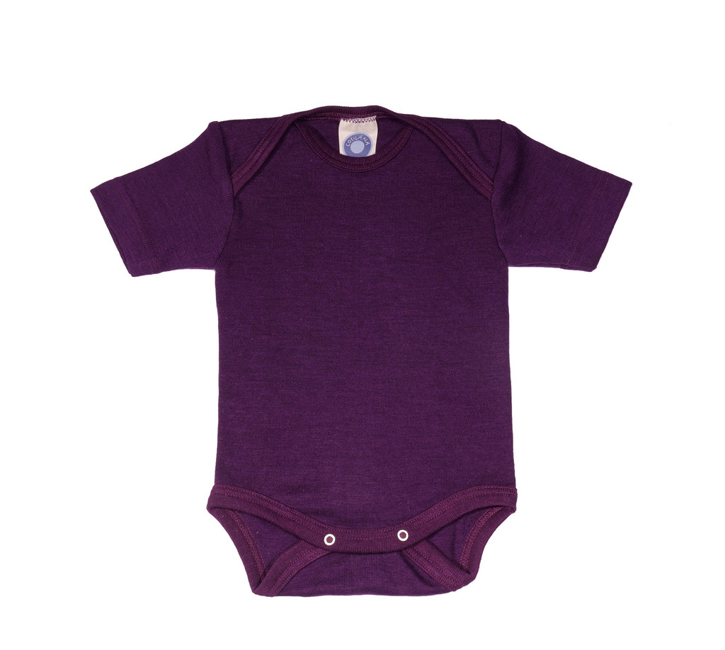 Cosilana Organic Wool/ Silk Short Sleeved Bodysuit Color: plum