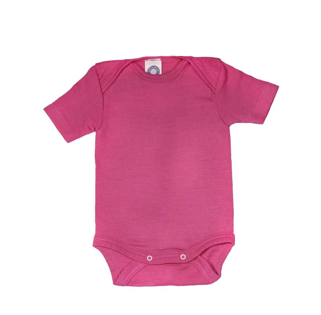 Cosilana Organic Wool/ Silk Short Sleeved Bodysuit Color: rose