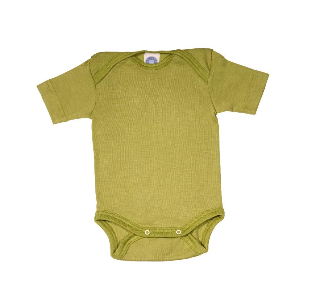 Cosilana Organic Wool/ Silk Short Sleeved Bodysuit Color: green