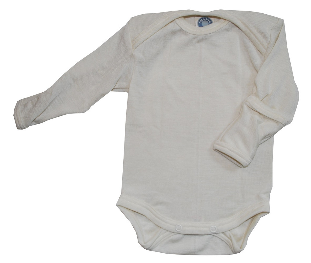 Cosilana Organic Wool/ Silk Long-Sleeved Bodysuit with Mitten Cuffs