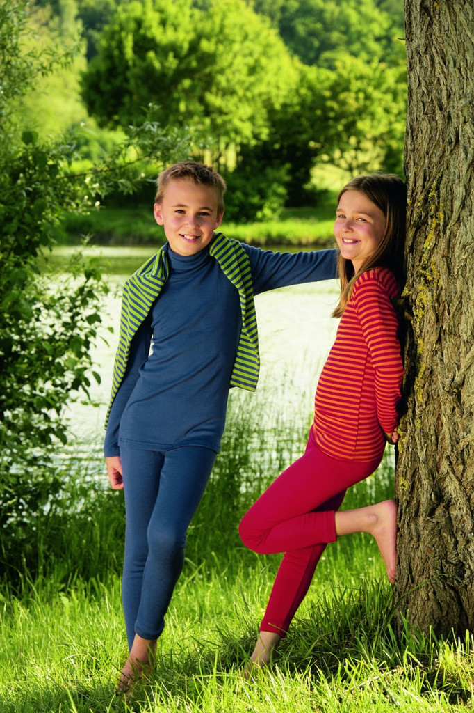 Organic Wool/ Silk Children's Leggings Light Ocean & Cherry Red