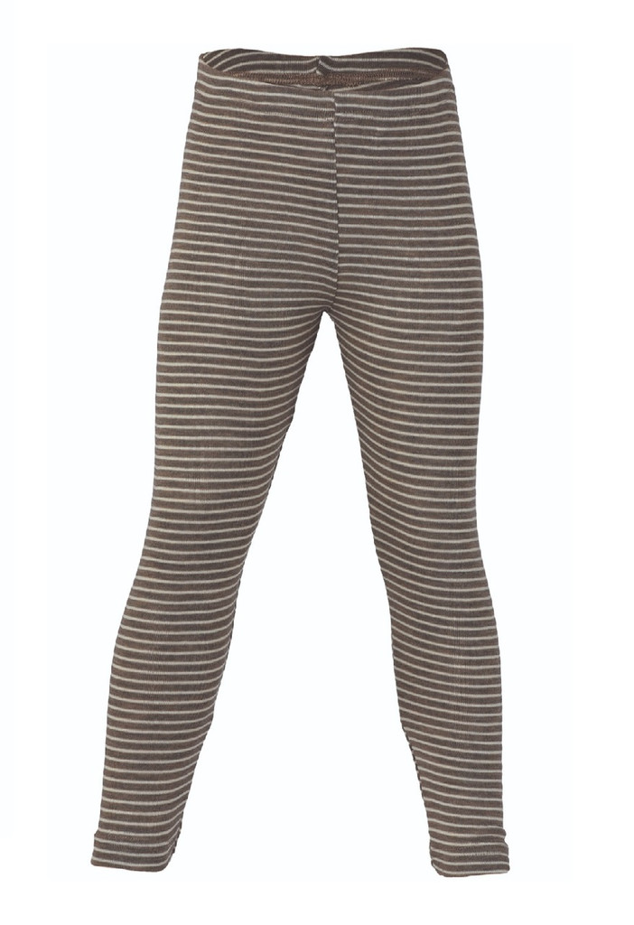 Organic Wool/ Silk Children's Leggings Color: Walnut Natural Stripes