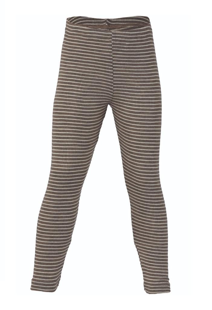 Organic Wool/ Silk Children's Leggings Color: Walnut Natural Stripes