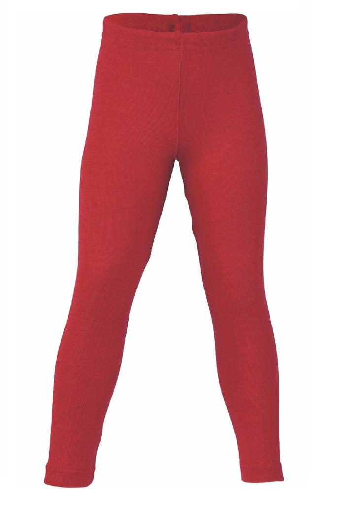 Organic Wool/ Silk Children's Leggings Color: Cherry Red