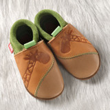 Handmade Natural Leather Soft-Soled Indoor Slippers Color: Indian Summer/ Pistachio