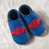 "Handmade Natural Leather Soft-Soled Indoor Slippers - ""Racer"""