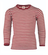 Engel Organic Wool Long Sleeved Shirt for Children Color: Red Melange Natural