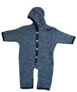 Organic Wool Fleece Baby Outdoor Suit Navy Melange