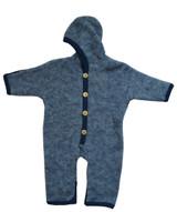 Organic Wool Fleece Baby Outdoor Suit Navy Melange