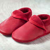 "Handmade Natural Leather Soft-Soled Indoor Slippers - ""Classic"" Berry"