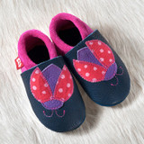 "Handmade Natural Leather Soft-Soled Indoor Slippers - ""Ladybug"""