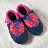 "Handmade Natural Leather Soft-Soled Indoor Slippers - ""Ladybug"""