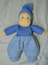 Organic Cotton Striped Waldorf Doll - Blue Striped