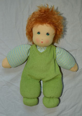 Organic Cotton Waldorf Doll - Boy with Green Overalls