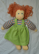 Organic Cotton Waldorf Doll | Girl with Braids Green