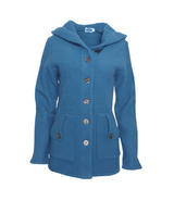 Wool Fleece Hooded Coat Color: Pacific